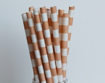Peach Rugby Horizontal Striped Paper Straws-Peach Straws-Striped Straws-Blush Straws-Wedding Straws-Mason Jar Straws-Party Straws