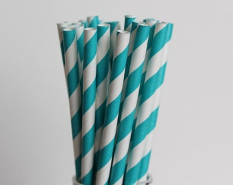 Teal Striped Paper Straws-Mason Jar Drinking Straw-Wedding Paper Straws-Teal Birthday Party Paper Straws-Teal and White Striped Paper Straw