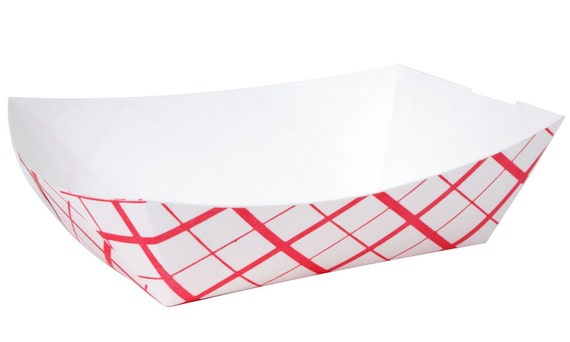 Il_570xn  sc 1 st  Catch My Party & Red Plaid Paper Food Trays 25 Extra Large Retro Paper Food Tray ...