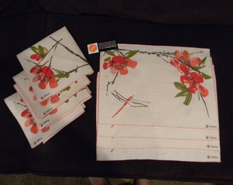 Vera Neumann Ladybug Belgain Linen Pink Poppies Placemat Set of Four; New Vintage with Tags