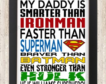 Father's Day Personalised Christmas marvel Daddy Dad Father Grandpa Uncle Papa present birthday gift word art print