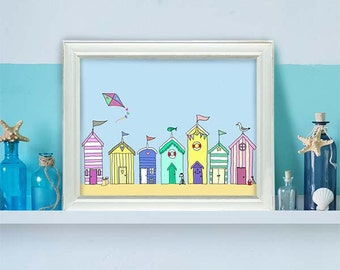 Beach Huts in a Row  - beach house décor beach house art beach hut print nautical print seaside beach art seaside print beach hut art