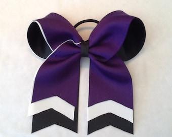 Purple Black White Cheer Bow Layered Cheer Bow Softball Ball Bow