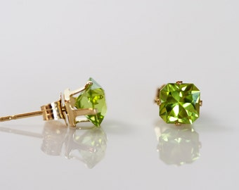 Faceted Square Rich Green Peridot Stud Earrings in 14k Gold Post Settings