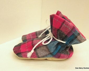 Wool Baby Booties Made from Pendleton Wool Soft Sole
