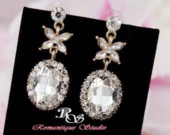 Crystal bridal earrings gold chandelier earrings chandelier bridal earrings vintage style wedding earrings rhinestone bridal earrings- 1273G