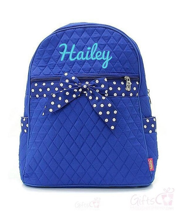 items similar to personalized backpack quilted monogrammed royal blue white polka dot bow 15. Black Bedroom Furniture Sets. Home Design Ideas