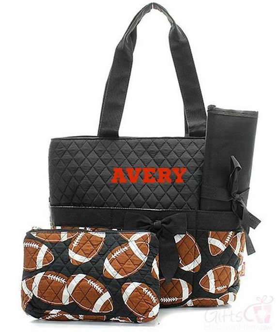 personalized diaper bag quilted monogrammed football black. Black Bedroom Furniture Sets. Home Design Ideas