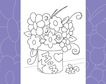 Coloring Card: Mother's Day Downloadable PDF