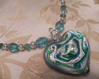 Cobalt and green glass swirled heart necklace