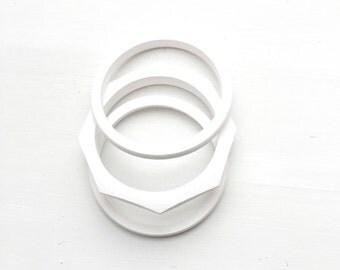 white painted geometric bracelet trio