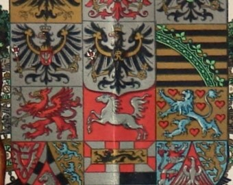 Antique Print1904Lithograph In Color German Coats Of Arms 111 Years