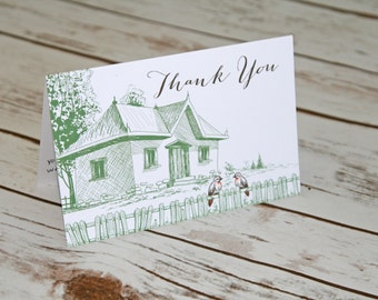 Thank you cards featuring a hand sketched home with 2 love birds! House warming Party or New home. Thank you realtor card