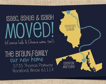 Moving Announcement (We Moved Map) Printable New Address Postcard