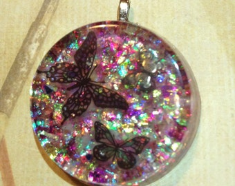 Beautiful Butterflies Sparkly Resin Pendant