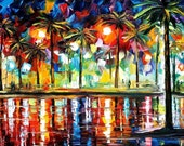 "Tropical Fiesta 2 — PALETTE KNIFE Landscape Contemporary Wall Art Oil Painting On Canvas By Leonid Afremov - Size: 36"" x 20"" (90 cm x 50 cm)"