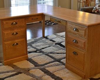 Custom Single or Double Pedestal Desk with Right/Left Side Return