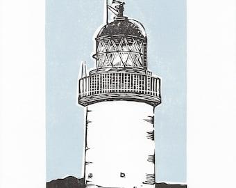 Lighthouse art print - lighthouse linocut, Corran lighthouse, coastal art print