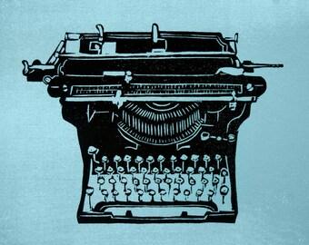 Vintage Typewriter print - screenprint wall art, vintage typewriter, underwood typewriter print