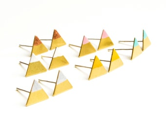 Colorful golden triangle earrings
