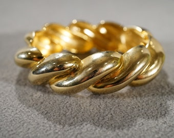 Vintage Art Deco Style Yellow Gold Tone Large Wave Design Hinged Bracelet Jewelry    K