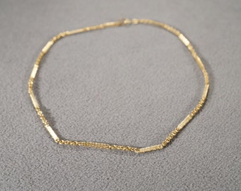 Vintage Art Deco Style Yellow Gold Tone Necklace Jewelry  K