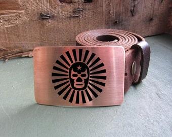 Belt Buckle LUCHADOR Mexican Wrestler- Brass Copper Nickel Silver