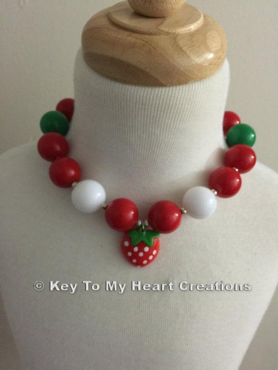 Strawberry shortcake bubblegum by keytomyheartcreation on etsy for Strawberry shortcake necklace jewelry