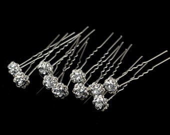 5 Rhinestone Flower Hair pins- Great for wedding cakes, bouquets, centerpieces