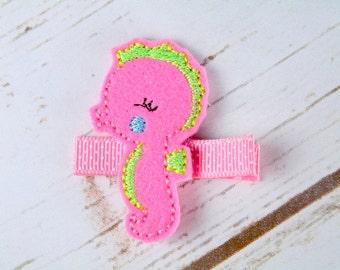 Pink seahorse hair clip, felt seahorse hair accessory, sealife hair clip, girls felt hair clips, UK seller