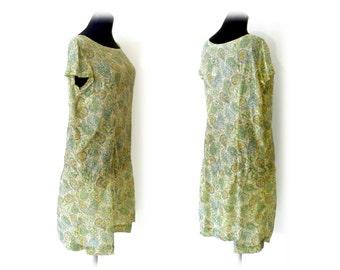 60s goes 20s Patterned Green Nylon Dress 60's 1960s