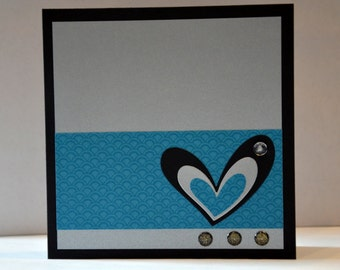 Map heart grey and blue