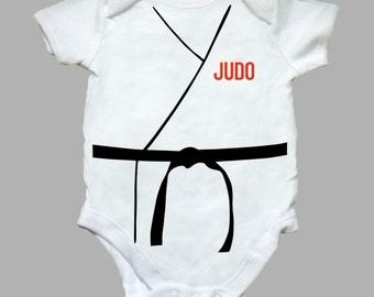 Babies White 'Judo' Babygrow - Fun, Sports - Jujitsu, Karate - Babysuit - Boys, Girls - 0-3, 3-6, 6-9 or 9-12 months