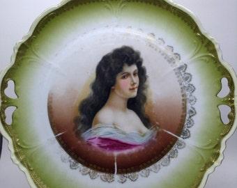 Antique Austria Romantic Victorian Portrait PLATE Elbogen Green Porcelain Beautiful Lady Long Dark Hair Vintage Decor