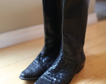 vintage woven tall black leather flat boots womens 7 1/2 *