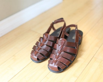 vintage brown strappy leather strap sandals womens 8 *