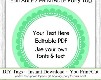 EDITABLE Printable Party Favor, Green Scallop Party Tag INSTANT Download, Use as Cupcake Topper, DIY Party Tag, Baby Shower, Birthday