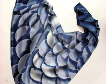 Hand Painted Silk Scarf. Black and white square scarf. Grape-black, grey silk scarf hand painted batik. Made to order.