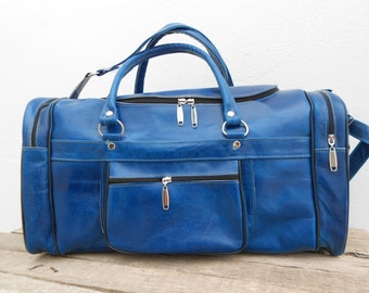 Blue Leather Duffel Travel Luggage Bag for Mens, Groomsmen gift, Personalized Sports Utility Weekender Leather Bag, Groomsmen gift