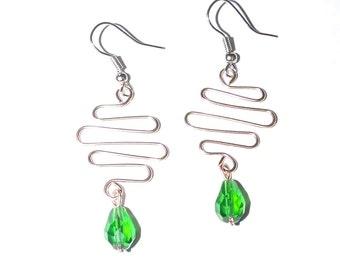 Copper Wire Earrings Bent Wire Jewelry, Copper Earrings, Dangle Earrings, Wire Earrings, Copper Jewelry, Long Earring, Wire Art