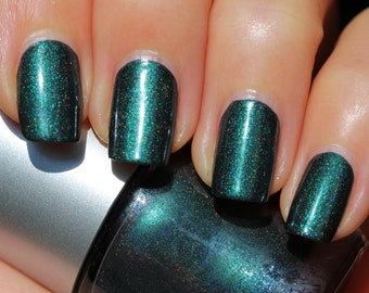 Enchanted Forest Franken Nail Polish - Deep emerald green, holographic and turquoise shimmer