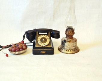 Vintage Rotary Telephone Black Bakelite phone Estonia  Industrial Office supply movie requisite Steampunk