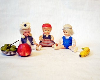 Rare Cute Little Plastic Baby Dolls, Arms and Legs Move, Vintage Retro Soviet Toy