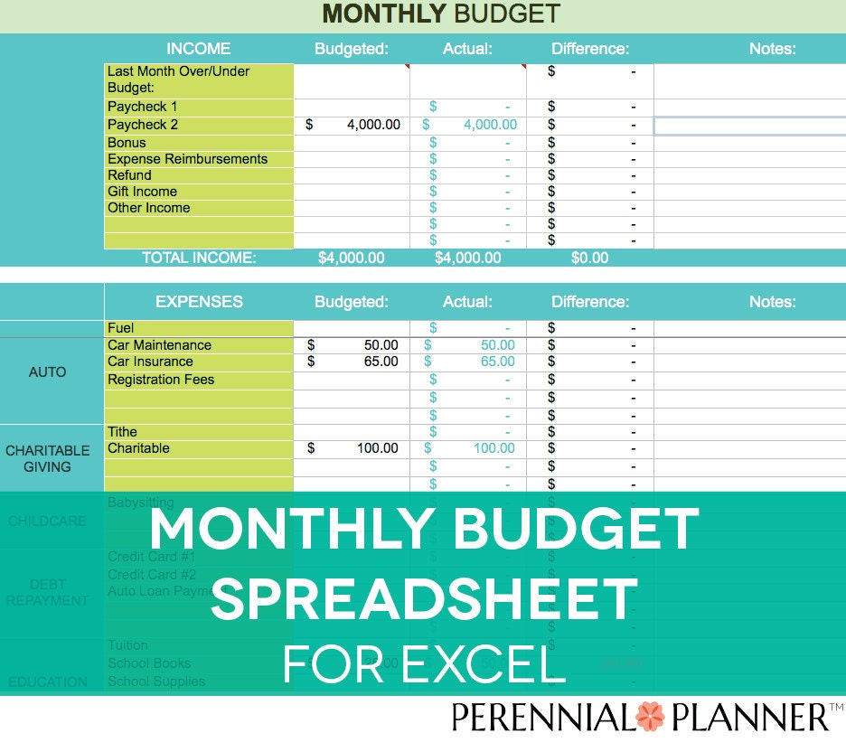 Monthly Budget Spreadsheet Household Money Tracker Microsoft – Budget Worksheet Excel