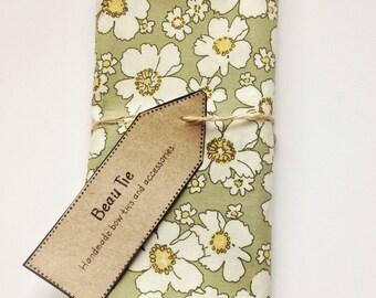 Mens pocket square olive green, floral pocket square, green pocket square, cotton pocket square