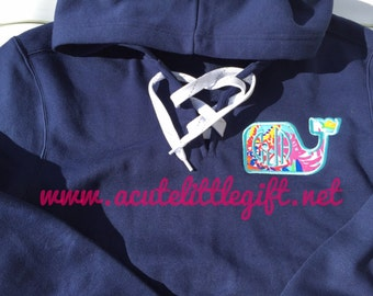 Monogrammed Whale Lace-up hoodie using Lilly Pulitzer fabric