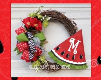 Summer Monogram Watermelon Wreath