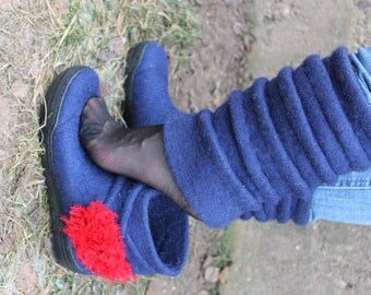 Hand- made boots for women made of Austrian Tyrolian wool 2 in one
