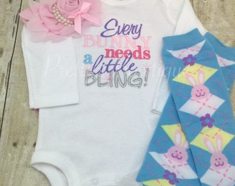 Easter Outfit Baby Girl with Bodysuit, Flower Headband and Legwarmers – Sizes Newborn to XL14