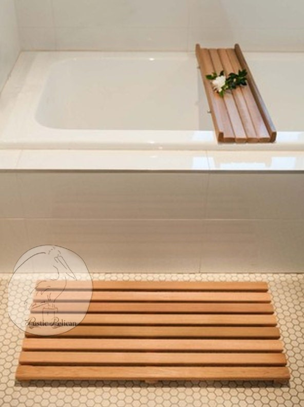 Rustic Wood Bath Caddy Tray and Wood floor Mat by RusticPelican